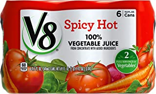 V8 Spicy Hot 100% Vegetable Juice, 11.5 oz. Can (4 packs of 6, Total of 24)