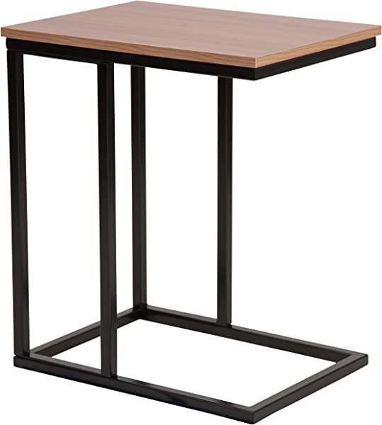 Flash Furniture Aurora Rustic Wood Grain Finish Side Table With Black Metal Cantilever Base