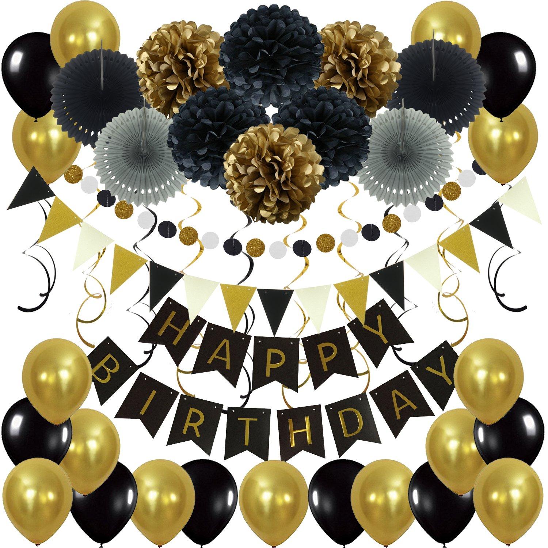 Globos Flores Papel de Tejido Pom Pom Ball linternas Pancartas de Banderines de Happy Birthday Incluyendo Banner Cintas Zerodeco cumplea/ños Decoraciones