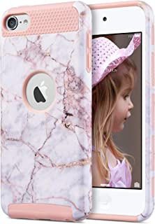 ULAK iPod Touch 7 Case, iPod Touch 6 Case, Durable Slim Protective Hybrid iPod Touch Case Hard PC Cover for Apple iPod Touch 5/6/7th Generation, Cracked Marble
