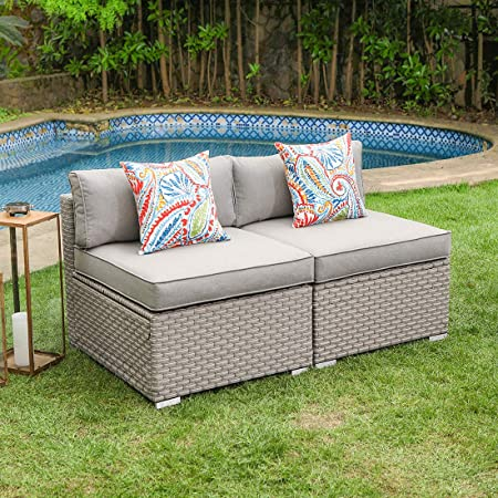 Cosiest 2 Piece Outdoor Furniture Add On Armless Chairs For Expanding Wicker Sectional Sofa Set W Warm Gray Thick Cushions 2 Floral Fantasy Pillows For Garden Pool Backyard Garden Outdoor