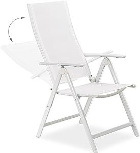 Relaxdays 10020937 Set da 2 Sedie da Giardino Pieghevoli, Schienale e Braccioli Regolabili, Bianco, 100x56x100 cm