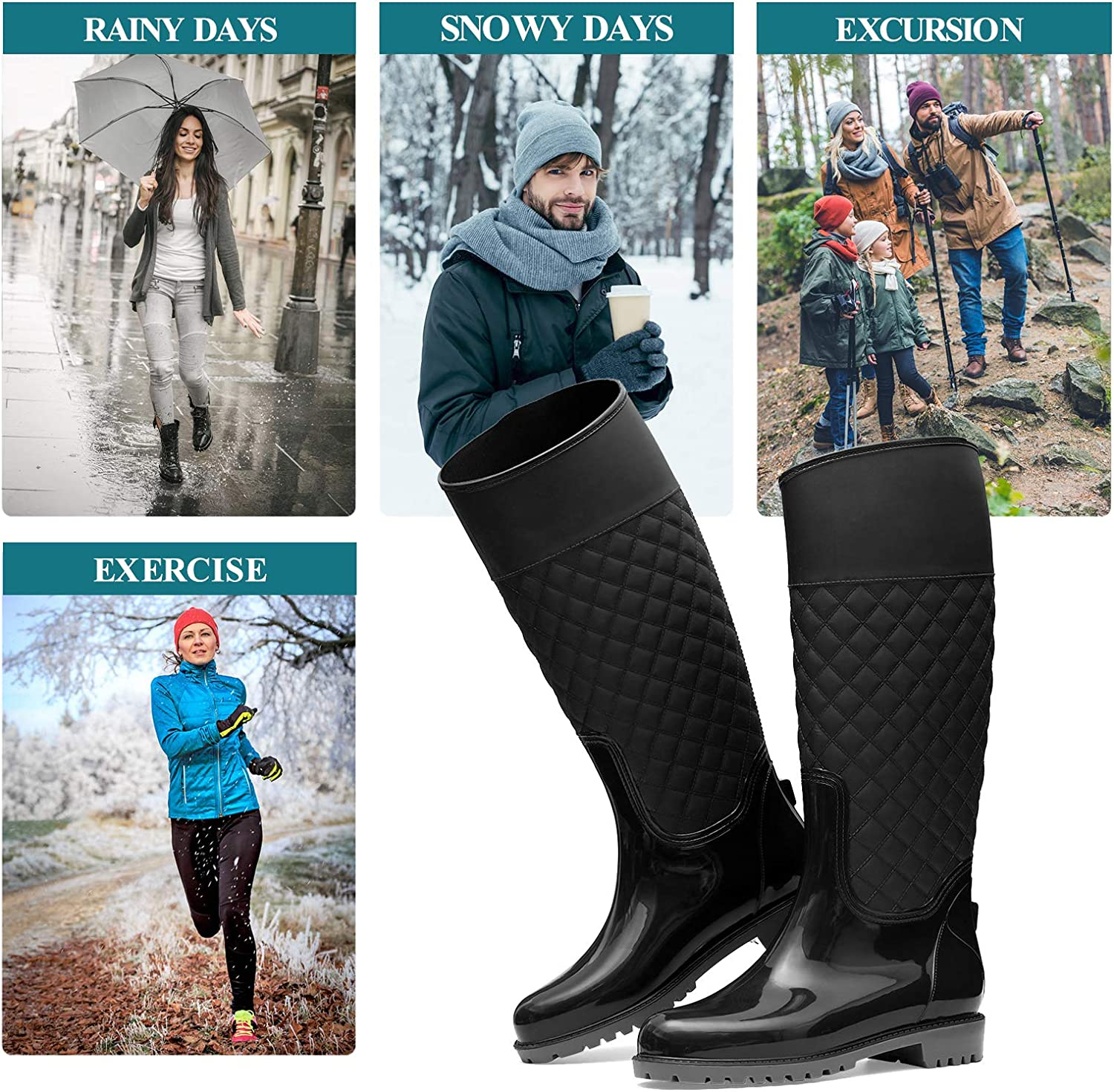 gracosy Rain Boots for Womens Waterproof Wellington Boots Ladies Tall Wellies Rain Shoes Garden Shoes for Outdoor Fashion Comfort Slip on Flat Rubber Shoes Anti Slip Walking Rain Shoes Size