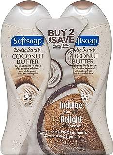 Softsoap Body Butter Coconut Scrub, Body Buff Wash 15 oz (Pack of 2)