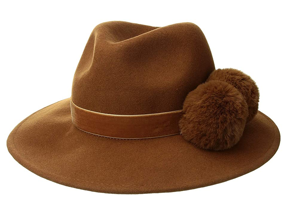 Women's Vintage Hats | Old Fashioned Hats | Retro Hats BCBGMAXAZRIA Double Faux Fur Pom Panama with Velvet Band Whiskey Caps $88.00 AT vintagedancer.com