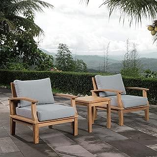 Modway EEI-1487-NAT-GRY-SET Marina Premium Grade A Teak Wood Outdoor Patio Furniture Set, 3 Piece, Natural Gray