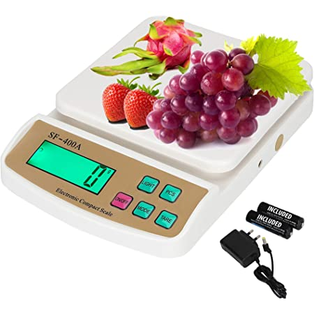 ENEM SF-400A 10 KG Electronic Weight Machine for Kitchen with 6 Months Warranty | Food Weight Scale for Home, Kitchen, Shop | Small, Portable Weighing Scale for Food, Products|White -with Adapter