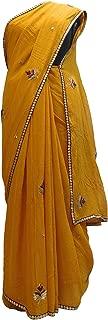 SMSAREE Yellow Designer PartyWear Georgette (Viscos) Zari Thread Sequence Cutdana Beads Work Saree Sari AZC869