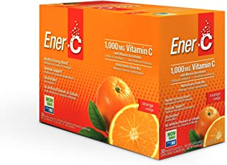 Ener-C - Natural Vitamin C 1000mg Immune Support, Drink Mix Powder Packets With Electrolytes For Hydration, Orange, 30 Packet