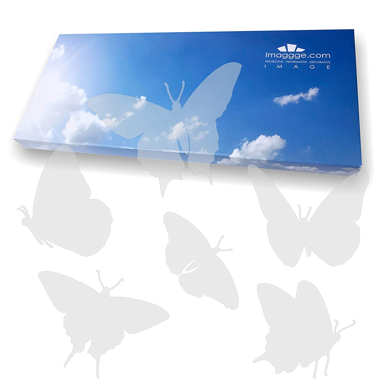 imaggge.com Window Alert - Anti-Collision Decals to Prevent People and Bird Strikes on Window Glass - Set of 18 Butterflies Stickers - Color: Translucent Dusted