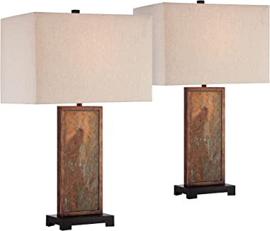 Yukon Modern Rustic Style Table Lamps Set of 2 Natural Slate Stone Dark Bronze Rectangular Box Shade Decor for Living Room Be