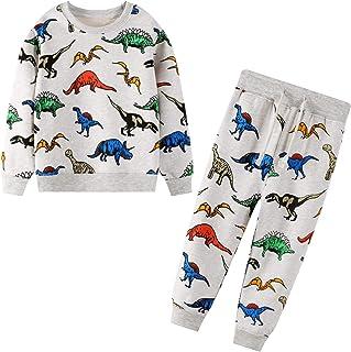 JinBei Conjuntos Deportivos para bebé Niño Chándales Conjunto Sudaderas Sweater Pantalones Ajustable Cinturón Algodon Otoñ...