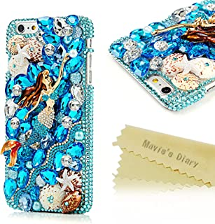 Mavis's Diary iPhone 6s Plus Case, iPhone 6 Plus Case Fashion Special Skull Design with Tassel Colorful Flowers and Shiny Bling Sparkly Diamond Rhinestone Hard Cover Clear Case - Mermaid