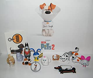 The Secret Life of Pets 2 Movie Deluxe Party Favors Goody Bag Fillers 13 Set with 10 Figures, Dog Tag Ring, Tattoo, Key Chain with Classic and Lots of All New Characters!