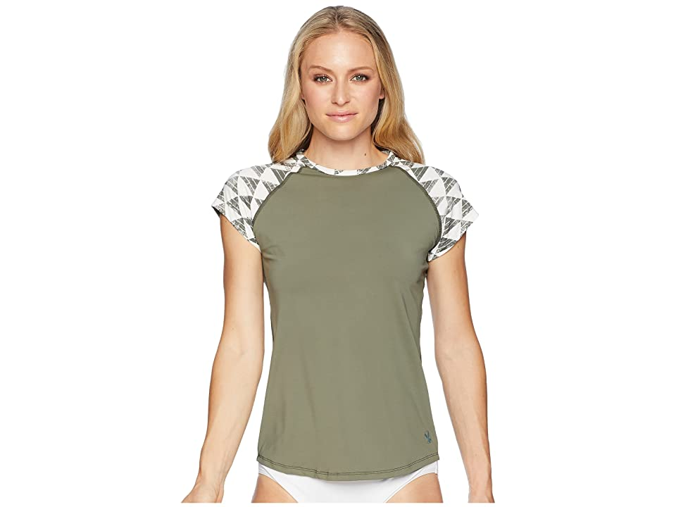 Carve Designs Belles Beach Rashguard (Olive/Olive Triangles) Women