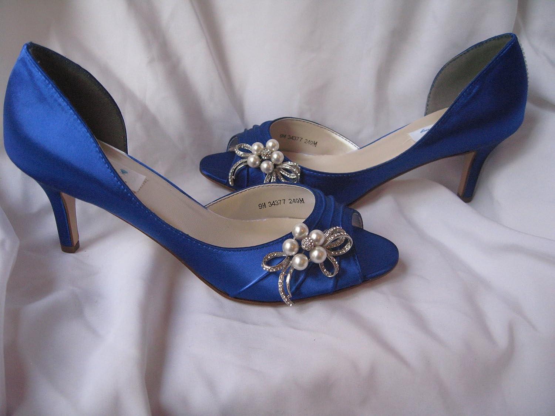 En Bidda Bling Bröllopsskor blå skor med Pearl och och och Crystal Design  skön