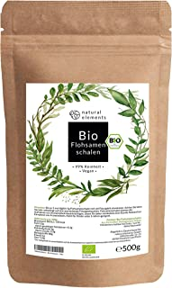 Bio Flohsamenschalen - Premium Qualität: Laborgeprüft, 99% Reinheit, zertifiziert Bio. Vegan. Low-Carb. Ballaststoffreich. Glutenfrei. Ohne Zusätze. Nachhaltig angebaut - 500g Beutel