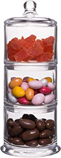 Classic Elegant Glass 3-Tier Stackable Storage Buffet Organizer for Kitchen or Bathroom - Set of 3 14-Ounce Apothecary Jar Containers with Lid - 12H X 4.25D Inches