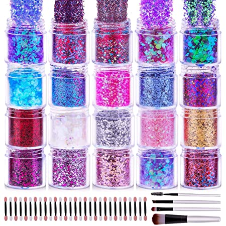 200g Chunky Cosmetic Holographic Glitter, Cridoz Chunky Glitter 20 Colors Face Nail Body Glitter Resin Chunky Craft Glitter Set for Tumblers Nail Resin Jewelry Making