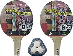 Kounga Unisex Giant Dragon 2 x en 1 Star 3 tafeltennisset (2 rackets en 3 ballen), rood/zwart, eenheidsmaat