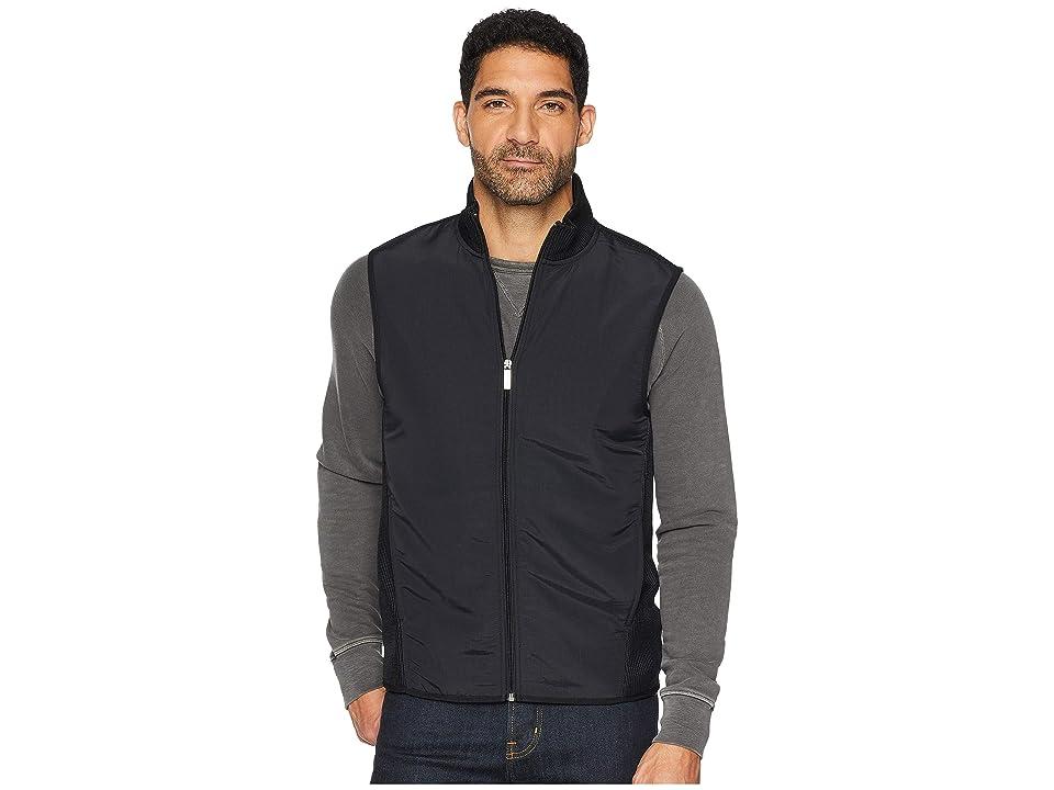 Perry Ellis The Essential Full Zip Stretch Fleece Vest (Black) Men