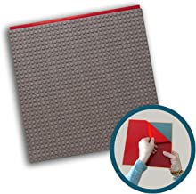 Creative QT Peel-and-Stick Baseplates - Self Adhesive Building Brick Plates - Compatible with All Major Brands - 1 Pack - Grey - 10 inch x 10 inch