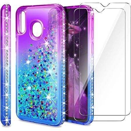 AROYI Coque Samsung Galaxy A20e Film Protection Écran [2 Pack], Fille Personnalisé Liquide Paillette Dégradé Transparente Silicone TPU Antichoc Étui ...
