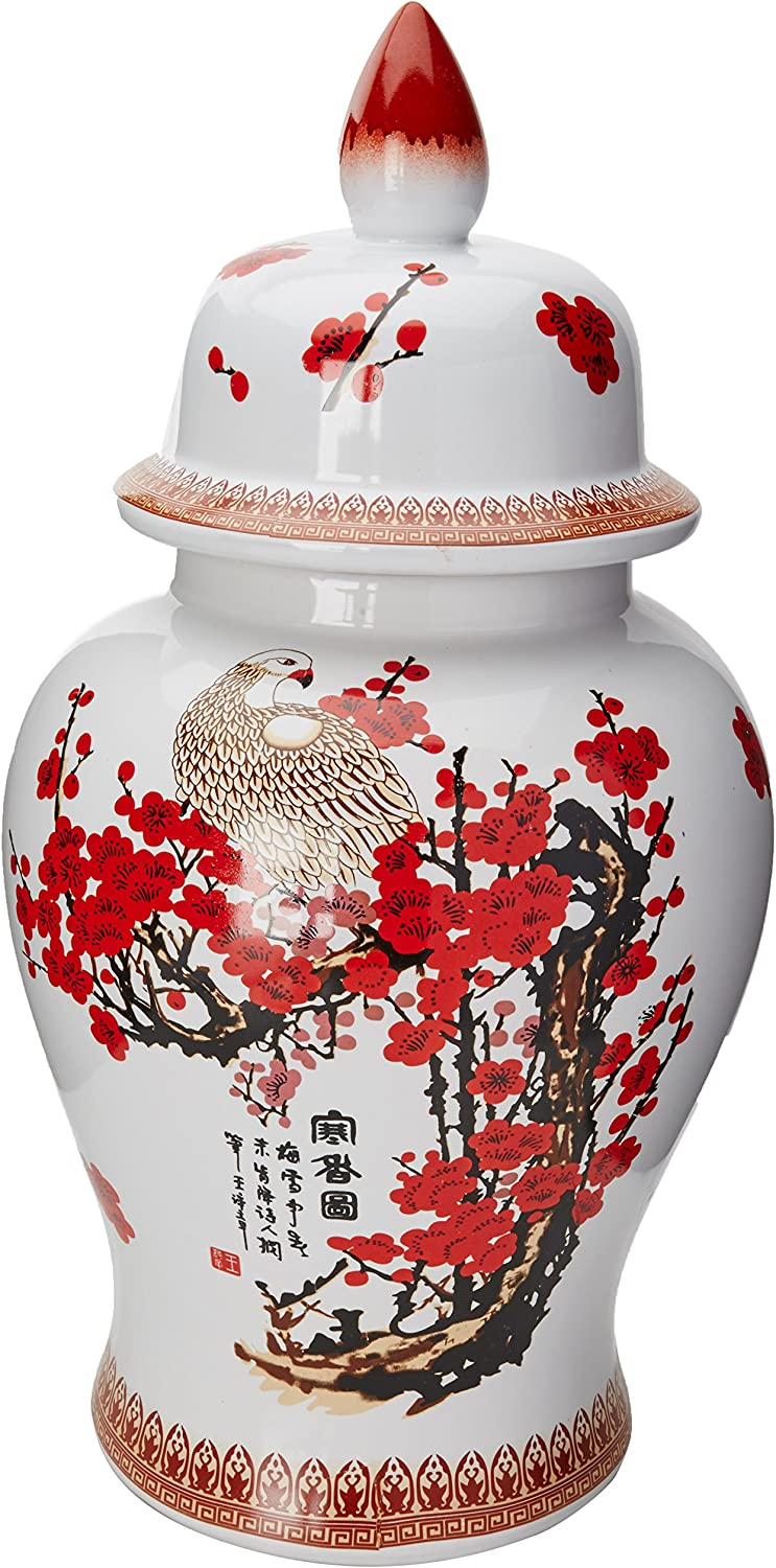 Oriental Furniture 18  Cherry Blossom Porcelain Temple Jar
