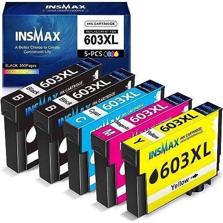 INSMAX 5 Pack 603XL Cartouche d'encre Compatible pour Epson 603 603 XL pour Expression Home XP-2100 XP-2105 XP-3100 XP-3105 XP-4100 XP-4105, Workforce WF-2810DWF WF-2830DWF WF-2835DWF WF-2850DWF