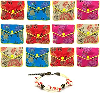 GemEwell 12pcs Jewelry Silk Purse Pouch Chinese Embroidered Brocade Zipper Gift Pack(with 1 Ceramic Bracelet)