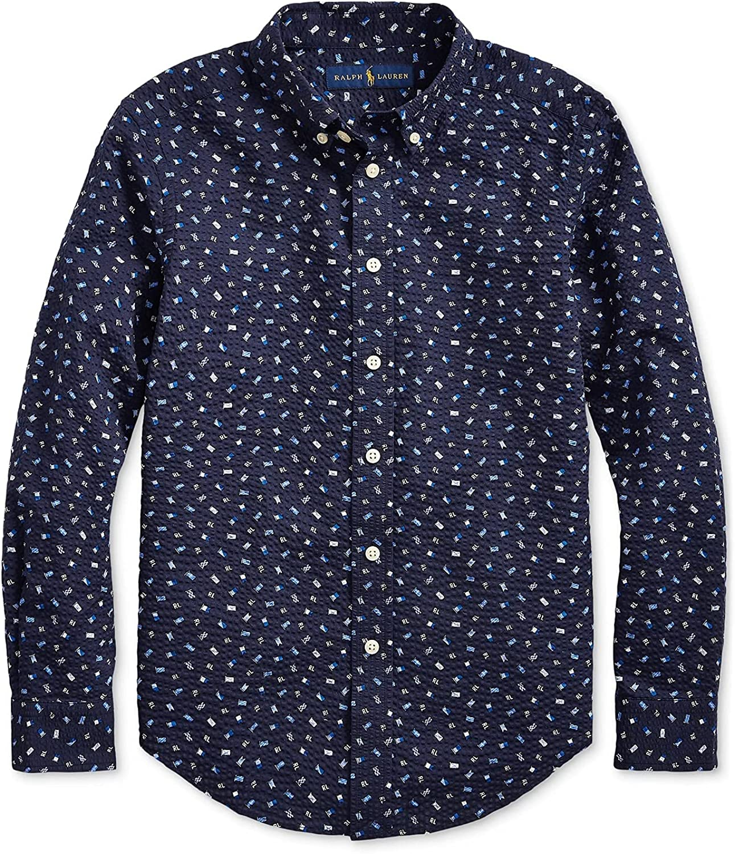 Polo Ralph Lauren Blue Multi Big Boys Nautical Seersucker Shirt, US Small