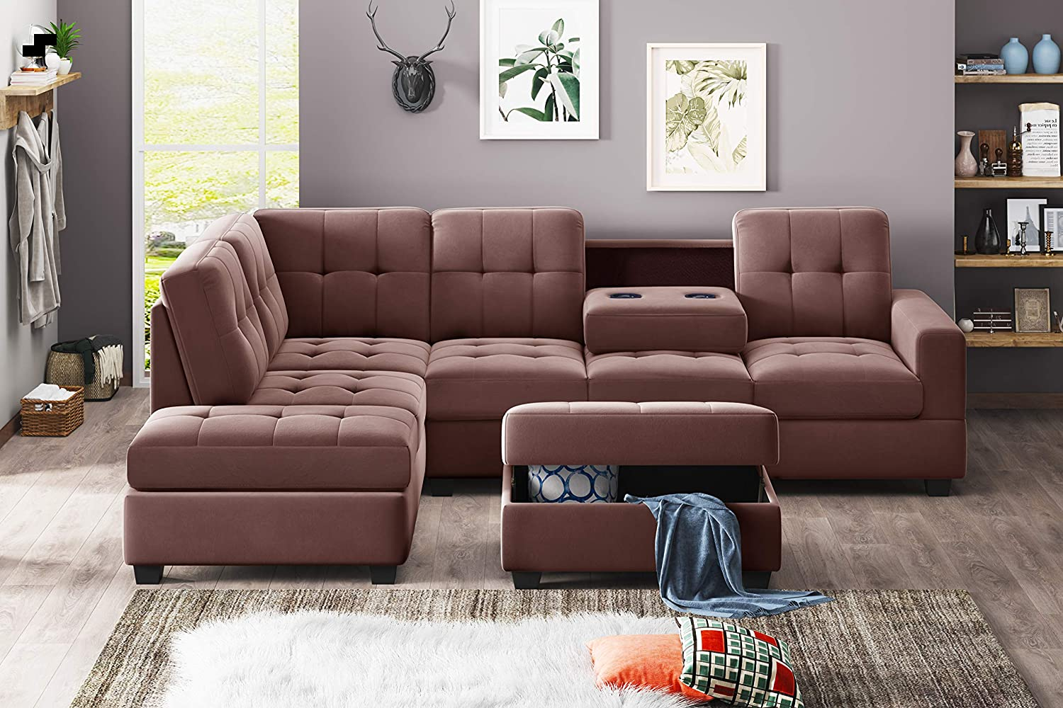 3PCS Sectional Sofa Microfiber L-Shape Manufacturer regenerated product and Couch supreme