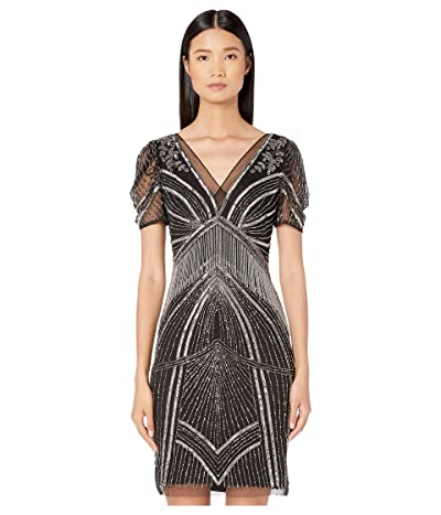 Adrianna Papell Beaded Dress with Puff Elbow Sleeves (Black/Mercury) Women