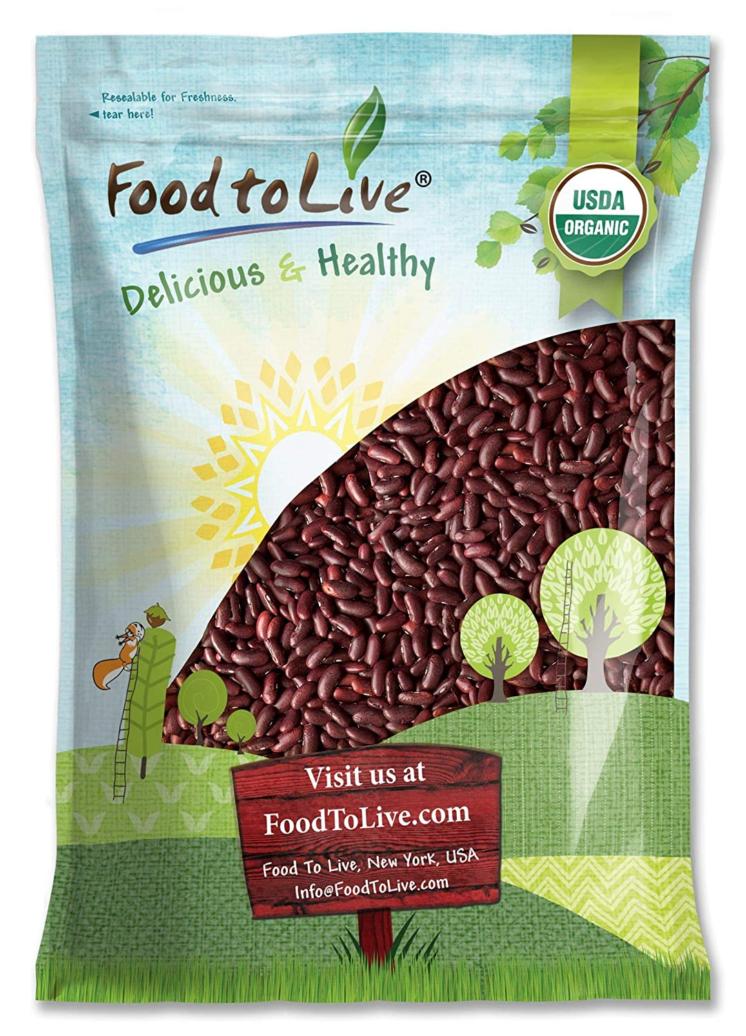 Organic Dark Red Kidney Max 57% OFF Beans 15 Non-GMO 2021 spring and summer new Raw - Pounds Kosher
