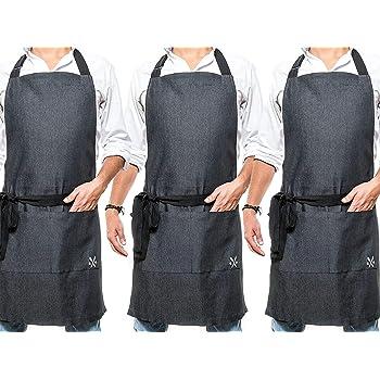 PESANI 3 Pack, Mandil - Delantal Chef para Cocina o Restaurante en Mezclilla Negro…