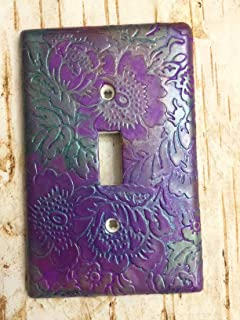 Handmade Light Switch Plate or Outlet Cover Sculpture Metallic Flower Pattern Decor Polymer Clay