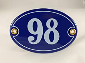 Emaille huisnummerbordje nr. 98, ovaal, blauw-wit Nr. 98 Blau-Weiß + Schrauben und Dübel