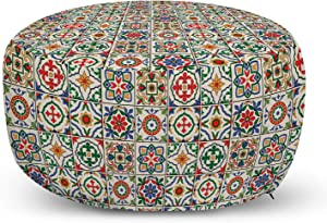Ambesonne Moroccan Ottoman Pouf, Colorful Azulejo Pattern Portuguese Ornamental Abstract Floral Arrangements Leaves, Decorative Soft Foot Rest with Removable Cover Living Room and Bedroom, Beige Blue