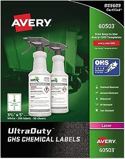 Avery UltraDuty GHS Chemical Labels for Laser Printers, Waterproof, UV Resistant, 3.5