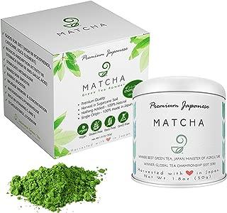 Matcha Green Tea Powder – 100% Natural, Vegan, Non-GMO, Sugar-free, and Gluten-free - Authentic Japanese Powdered Green Tea – Single Origin Tea - Premium Grade – 1.8 oz, 50 g