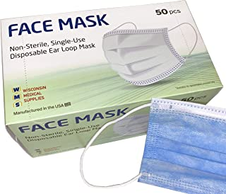 Sponsored Ad - WMS Steel Blue Face Masks, Wisconsin Medical Supplies, MADE IN USA, 1 Pack