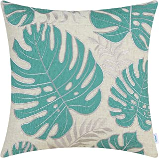 CaliTime High Class Throw Pillow Cover Case for Couch Sofa Home Decoration Tropical Monstera Deliciosa Liebm Leaves Applique Embroidered 18 X 18 Inches Teal