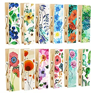 Cosylove Pack-12 Decorative Magnetic Clips - Refrigerator Magnets Display Photos,Memos,Lists,Calendars on Whiteboard,Cabinets,Office or Classroom - Fridge Magnets Made of Wood