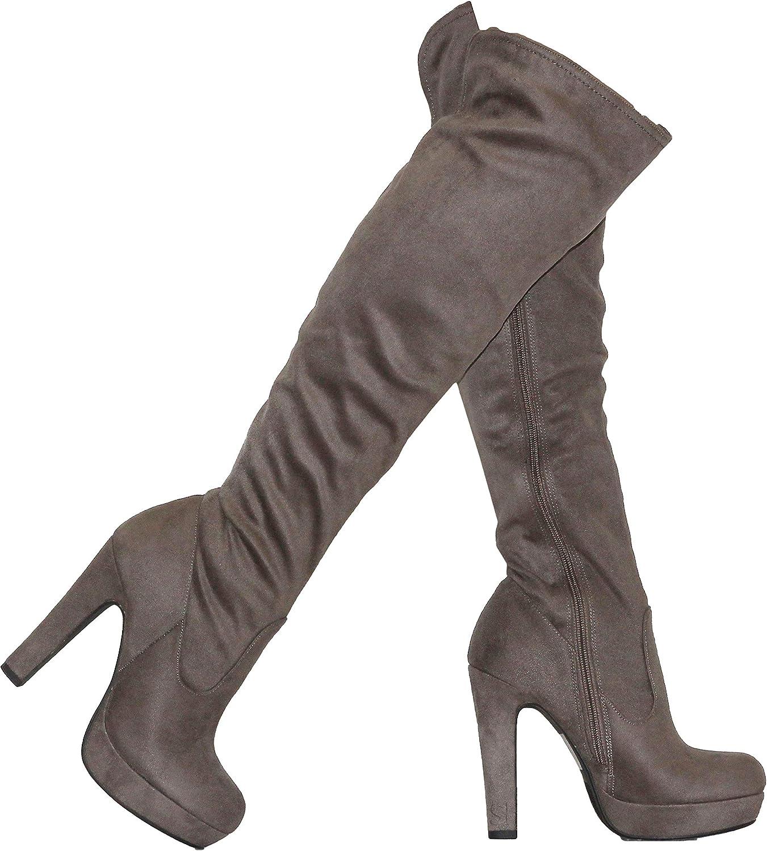 MVE shoes Women's Thick Heel Platform Over The Heel Boots