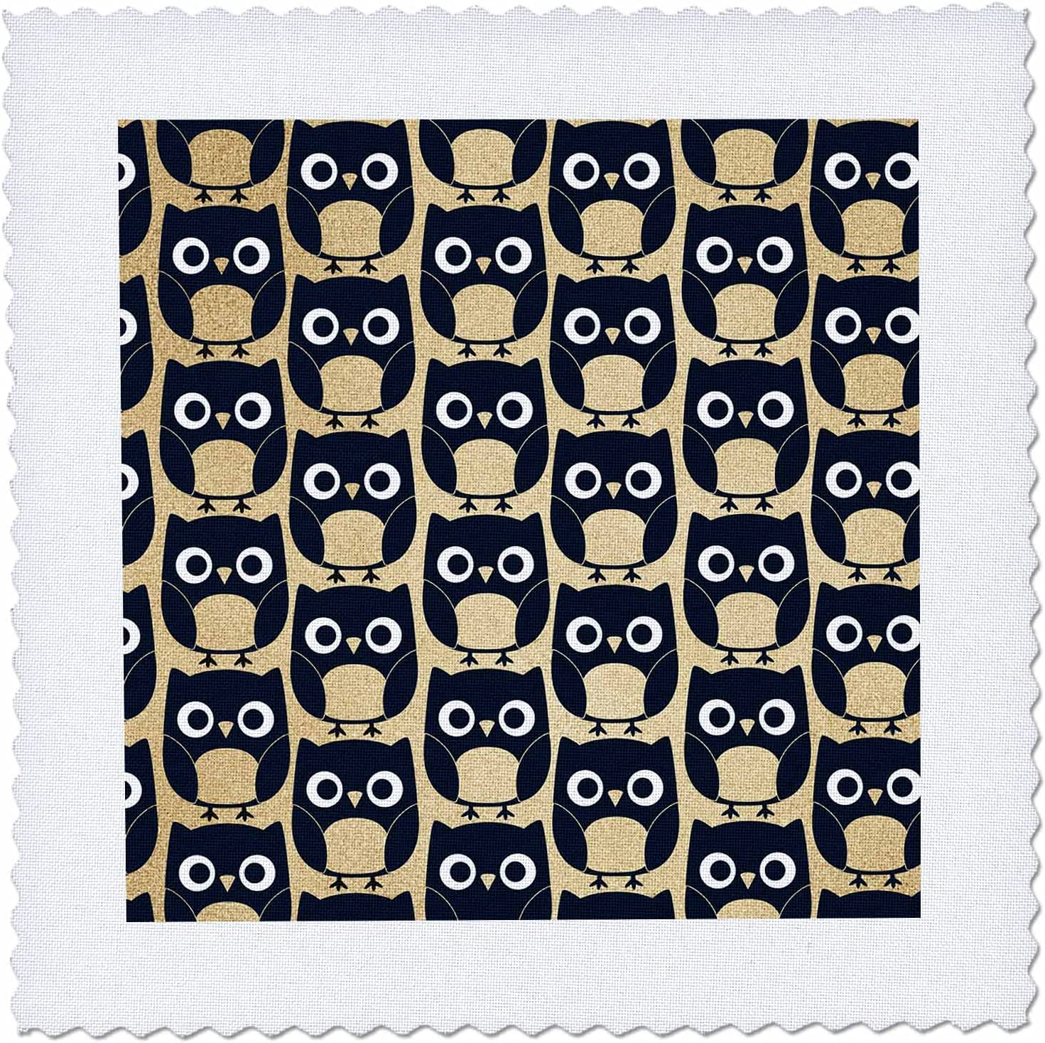 3dRose Cute Black and Image Of lowest price Gold Quilt Indianapolis Mall Owl - Squares Pattern
