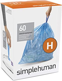 simplehuman Code H Custom Fit Drawstring Recycling Trash Bags, 30-35 Liter / 8-9 Gallon, Blue, 60 Count