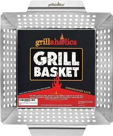 Grillaholics Heavy Duty Grill Basket - Large Grilling Basket for More Vegetables