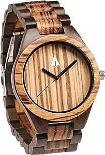 Treehut Men's Zebrawood and Ebony Wooden Watch with All Wood Strap Quartz Ana.