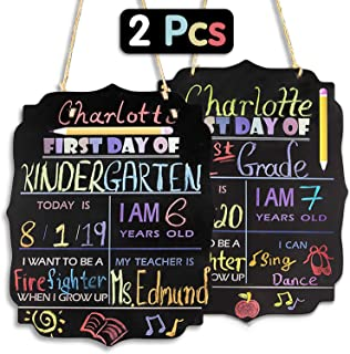 """First and Last Day of School Chalkboard Sign - 13"""" x 10"""" Personalized 1st Day Back to School Sign Photo Prop Board with String - Reusable and Erasable (Large, 2 Pcs)"""