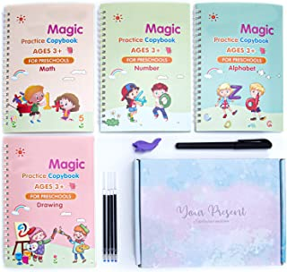 4 PCS Magic Practice Copybook English for Kids Ages 2-8 Year Reusable Magical Copybook Kids Tracing Book for Handwriting M...